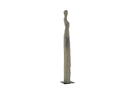 Phillips Collection Colossal Gray Cast Woman Sculpture A is an abstracted female form that is very tall in a dark gray finish