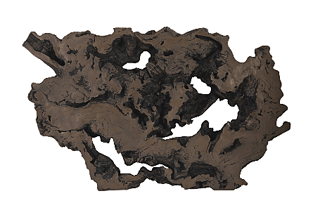 the Phillips Collection Large Bronze Burled Root Wall Art is molded to look like a burled root and covered in a bronze finish