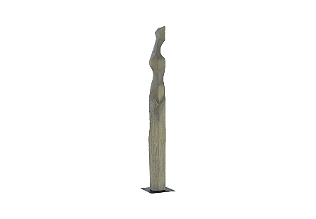 Phillips Collection Colossal Gray Cast Woman Sculpture B is an abstracted female form that is very tall in a dark gray finish