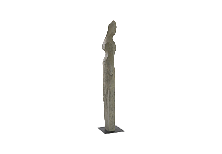 Phillips Collection Colossal Gray Cast Woman Sculpture F is an abstracted female form that is very tall in a dark gray finish