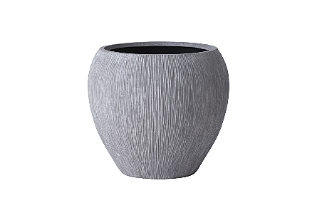Phillips Collection's Brianna String Small Planter is a garden planter made of composite in a raw gray finish with contemporary lines