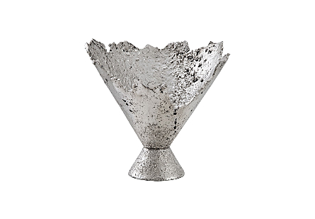 Phillips Collection Splash Silver Bowl is a fluted decorative vessel that looks as if it has been created with molten metal