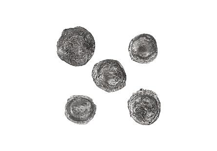 Splash Wall Bowls Silver Leaf, Set of 5