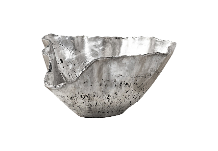 Phillips Collection Cast Onyx Large Silver Bowl is a fluted decorative vessel that looks like an antique decorative bowl with patina