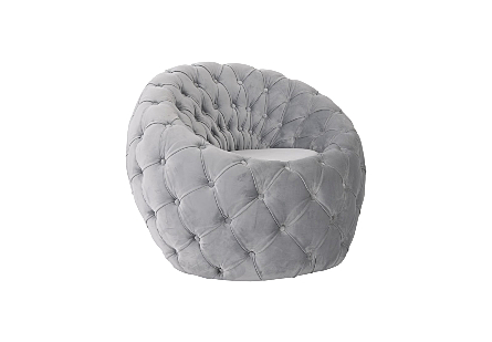 Phillips Collection Egg Gray Velvet Chair is an upholstered gray chair with an egg shape and tufted gray velvet over its entire shape