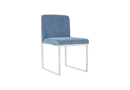 Phillips Collection Frozen Blue Corduroy Dining Chair is a contemporary chair with a blue upholstery fabric and stainless-steel frame.