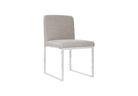Phillips Collection Frozen Gray Taupe Dining Chair is a contemporary chair with a taupe upholstery fabric and stainless-steel frame.