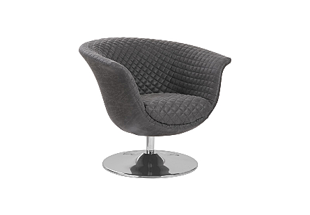 Phillips Collection Autumn Dark Gray Swivel Chair is a mid-century modern chair with a smooth outer surface and tufted seat