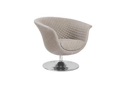 Phillips Collection Autumn Gray Taupe Swivel Chair is a mid-century modern chair with a smooth outer surface and tufted seat