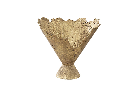 Phillips Collection Splash Gold Bowl is a fluted decorative vessel that looks as if it has been created with molten metal