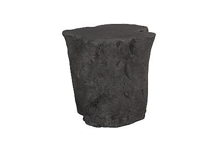 Log Side Table Charcoal Stone
