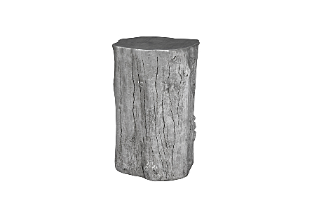 front view of the Log Medium Silver Stool by Phillips Collection a log stool made of composite to look like a slice of a tree trunk with knots