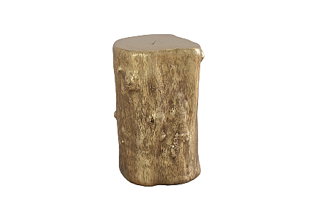 front view of the Log Small Gold Stool by Phillips Collection a log stool made of composite to look like a slice of a tree trunk with knots