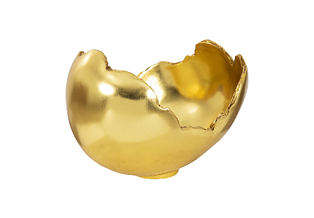 front view of the Phillips Collection Burled Gold Bowl molded to look like a piece of burled wood and covered in a gold leaf finish
