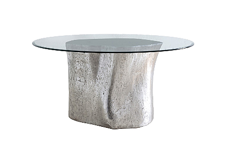 front view of the Log Silver Dining Table by Phillips Collection a log dining table made of composite to look like a slice of a tree trunk with knots