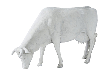Life Size Cow Grazing, Off White