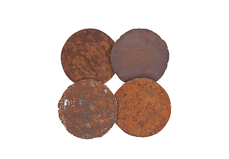 Cast Oil Drum Wall Discs Resin, Rust Finish, Set of 4
