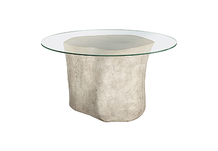 "Log Dining Table 60"" Glass Top, Roman Stone"