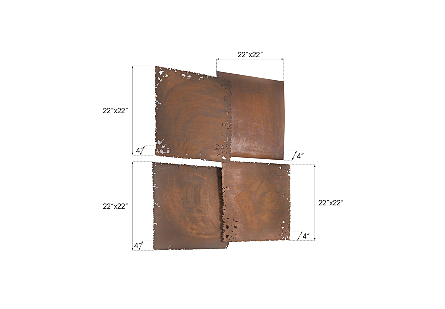 Cast Square Oil Drum Wall Tiles Resin, Rust Finish, Set of 4