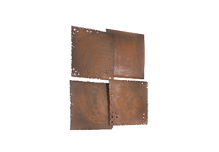 Galvanized Square Wall Tiles Set of 4, Resin, Rust