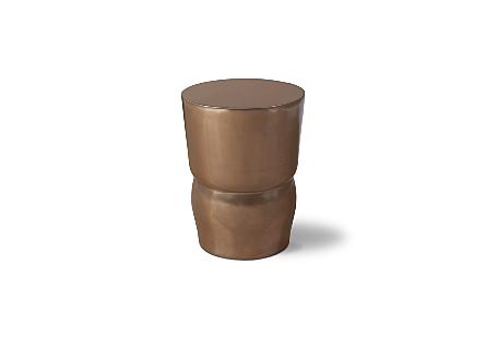 Carved Stool Polished Bronze