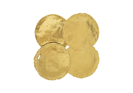 Cast Oil Drum Wall Discs Gold Leaf, Set of 4