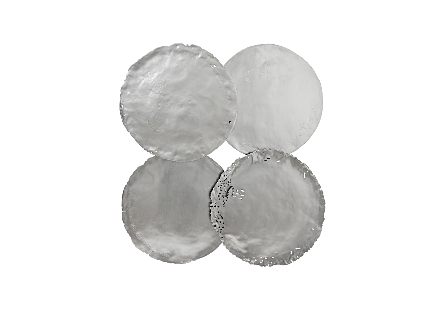 front view of the Phillips Collection Silver Cast Oil Drum Wall Discs decorative wall sculptures made to look aged and covered in a silver leaf finish