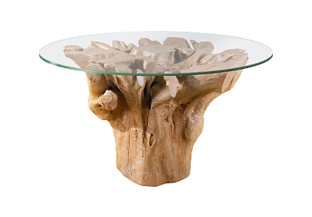 "Root Dining Table Base 60"" Round Glass Top, Faux Bois"