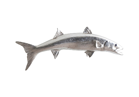 Barracuda Fish Wall Sculpture Resin, Silver Leaf
