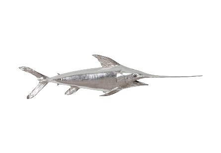 front view of the Phillips Collection Broadbill Swordfish Silver Wall Sculpture a fish sculpture made of composite in a silver leaf finish
