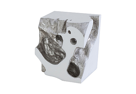 Freeform Stool White, Silver Leaf, SM