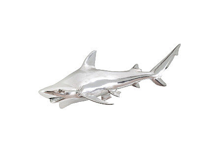 Black Tip Reef Shark Wall Sculpture Resin, Silver Leaf
