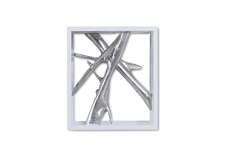 Framed Branches Wall Tile White, Silver Leaf