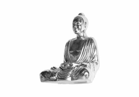 Levitating Buddha Wall Art Silver Leaf