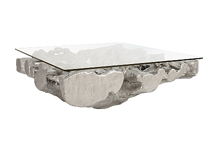 Square Root Coffee Table With Glass, MD