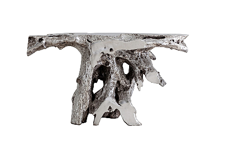 front view of Phillips Collection's Brivo Freeform Silver Console Table which looks like a tree root console table in a luminous silver leaf finish