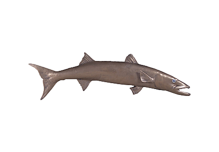 Barracuda Fish Wall Sculpture Resin, Bronze Finish