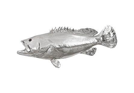 Estuary Cod Fish Wall Sculpture Resin, Silver Leaf