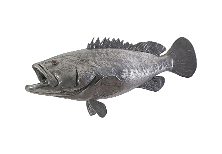 Estuary Cod Fish Wall Sculpture Resin, Polished Aluminum Finish