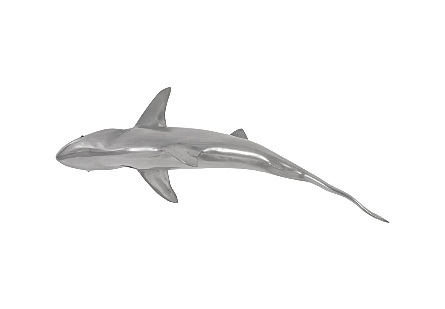Whaler Shark Fish Wall Sculpture Resin, Polished Aluminum Finish