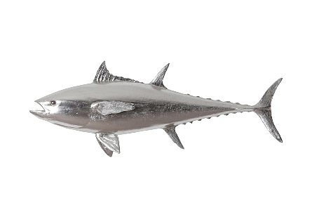 Bluefin Tuna Fish Wall Sculpture Resin, Silver Leaf