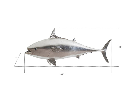 Mackerel Fish Wall Sculpture Resin, Silver Leaf