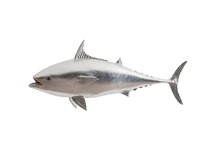 front view of the Mackerel Silver Wall Sculpture by Phillips Collection a whimsical fish sculpture made of composite in a silver leaf finish