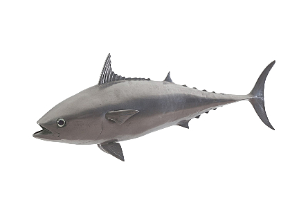 front view of the Mackerel Gray Wall Sculpture by Phillips Collection a whimsical fish sculpture made of composite in a polished aluminum finish