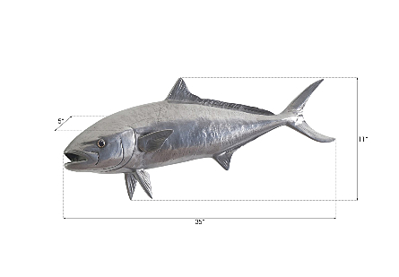 Yellow Tailed King Fish Wall Sculpture Resin, Polished Aluminum Finish