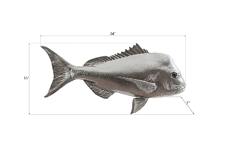 Australian Snapper Fish Wall Sculpture Resin, Silver Leaf