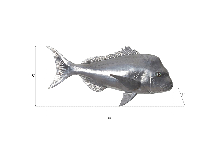 Australian Snapper Fish Wall Sculpture Resin, Polished Aluminum Finish