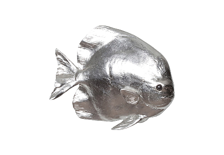 front view of Australian Bat Fish Silver Wall Sculpture by Phillips Collection a fish sculpture made of composite in a silver leaf finish