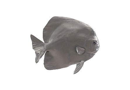 Australian Bat Fish Wall Sculpture Resin, Polished Aluminum Finish