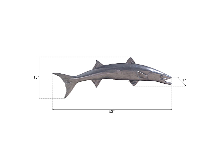 Barracuda Fish Wall Sculpture Resin, Polished Aluminum Finish